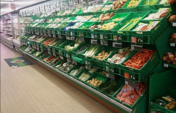 supermarket vegetable racks